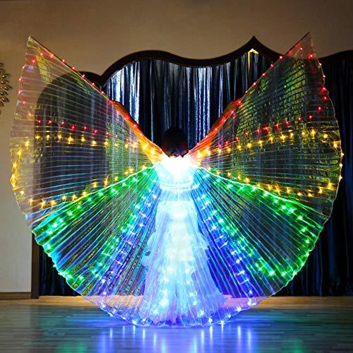 KT Mall LED Isis Wings Bauchtanz Flügel Mit Verstellbaren Sticks 360 Grad Tanz Requisiten Glowing Gold Wings Für Karneval, Bühne, Halloween Party,Colorful