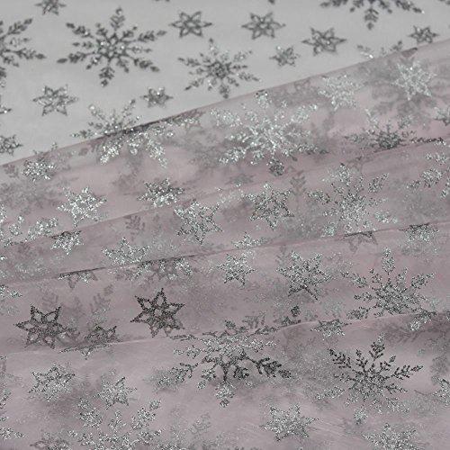 ilber Glitzer Schneeflocke auf rosa Organza Cape Stoff Kleid Dance Craft Material 149,9cm–150cm breit (Kleider Elsa Eingefroren)