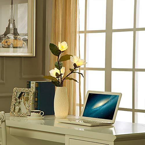 Simulation Modern Einfach Umweltfreundliches Material Starke Wärmeableitung Keine Strahlung Sogar Licht Keramik Magnolia Vase Schlafzimmer Nachttischlampe/Nachtlicht Augen Schützen