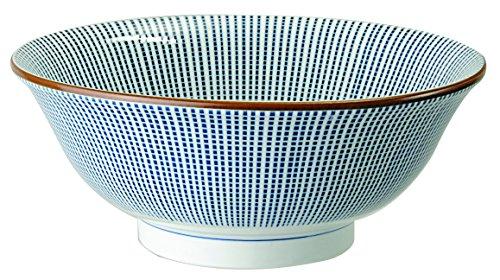 Grand bol japonais Sendan Tokusa en porcelaine, saladier, bol à soupe, bleu blanc, ∅ 21 cm