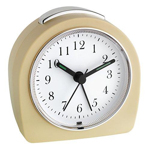 TFA Dostmann 60.1021.09 Elektronischer Wecker Retro Look, Analoge Anzeige mit geräuscharmen Sweep-Uhrwerk, 8,5 x 5,4 x 8,8 cm, beige, Kunstoff