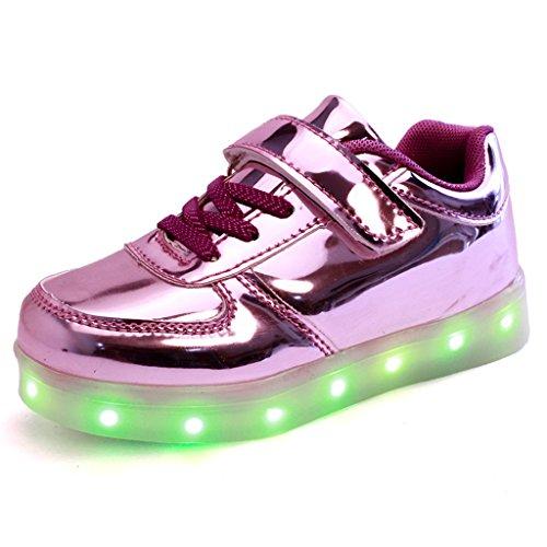 DoGeek LED Schuhe Kinder Damen 7 Farbe USB Aufladen Leuchtend Sportschuhe Led Kinder Farbwechsel Sneaker Turnschuhe für Herren Damen Silber