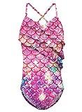 Funnycokid Costume da Bagno Ragazza Bambina Ruffle One Piece Costumi da Bagno Swimwear 10-12 Anni Costume da Bagno UPF 50+ UV