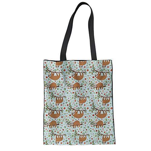 Nopersonality Stylische Einkaufstasche für Damen, Teens und College, Textil, Faultier, Large