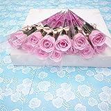 Brussels08Creative 10pcs Tige Unique Rose en Savon en Bouquet de Fleurs Savon de Bain Pétale de Fleur Rose fête de Mariage Cadeau pour la Saint Valentin Jour de Thanksgiving Décoration de fête