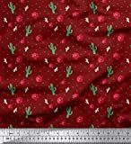 Soimoi Rot Poly Georgette Stoff Dreieck, Blumen & Cactus