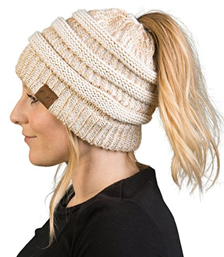 Funky Junque CC BeanieTail Womens Ponytail Messy Bun Beanie Solid Ribbed Hat Cap (Beanie Cable Knit Womens)