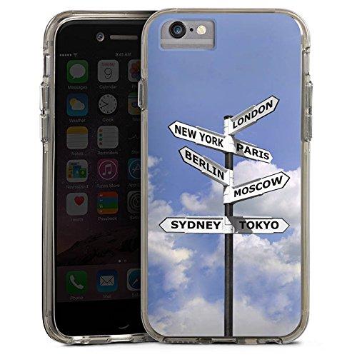 Apple iPhone 6 Bumper Hülle Bumper Case Glitzer Hülle Wegweiser Städte Cities Bumper Case transparent grau