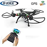 s-idee 17115 H809W GPS Wifi Rc Drohne HD Kamera FPV RC Quadrocopter Höhenstabilisierung, One Key Return, Coming Home / Headless VR möglich, Drohne 360° Flip Funktion, 2.4 GHz mit Gyro, 4-Kanal, 6-AXIS System Drone mit Camera 720p