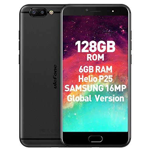 "Ulefone T1 Premium Edition - 5,5"" 4G FDD-LTE Smartphone, 6GB RAM 128GB ROM Android 7.0 Octa Core 2.6GHz, 3 Kamera 16MP+5MP+13MP, Fingerabdruck-Scanner, Dual SIM, Entsperrt Handy (Black)"