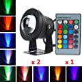 2x10W Waterproof RGB Color Changing Outdoor LED Flood Light 12V(safety voltage)+IR Remote Control, Underwater RGB Decor Spotlight/Wall Lighting for Landscape Garden Lawn Pool Pond Rockery Fountain by DXMR
