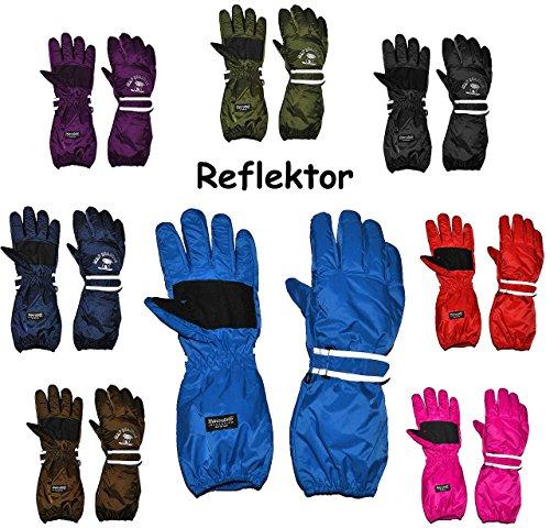 """Thermo Fingerhandschuhe - extra langer Schaft - """" BLAU - dunkel """" - Größe: 12 bis 15 Jahre - wasserdicht + atmungsaktiv Thinsulate -Reflektor ! Baumwolle / Ski-Handschuhe - Thermohandschuhe gefüttert - - Handschuhe extra lang - Thermohandschuh / Fingerhandschuh - Kinder - Mädchen & Jungen"""