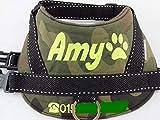 Hundegeschirr S M L XL XXL Brustgeschirr mit Wunsch Namen bestickt Camouflage