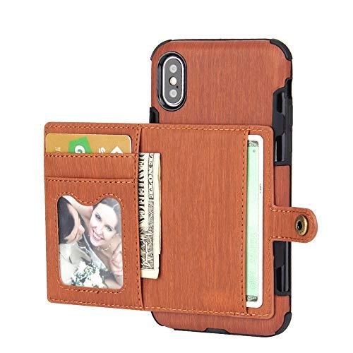 MYGIRLE Geeignet Für Iphonex Handy Shell Gebürstet Multifunktions Geldbörse Iphonex/Xs Handy Case Abdeckung,Brown,iPhoneX/XS Brown Handy Case
