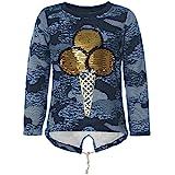 Kinder Mädchen Pullover Pulli Wende-Pailletten Sweatshirt 21546, Farbe:Blau, Größe:134
