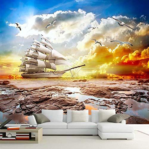 3D Wall Mural Wallpaper Suave Vela Puesta De Sol Paisaje Velero Foto...