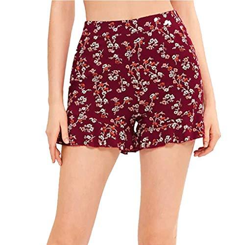 WOZOW Damen Shorts Kurze Hose Casual Loose Lose Boho Blumenmuster Floral Flowers Print Bedrucktes Rüschen Mini Hosen Freizeithose Stoffhose High Waist A Line Slim Trousers (XL,Wein) -
