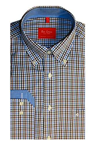 Ben Green Mens Cotton Fine Check Design Long Sleeve Shirt