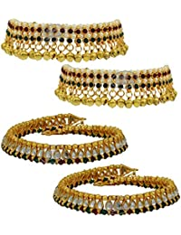 High Trendz Combo Of Two Bollywood Style Ethnic Gold Plated Anklets With Ghungroos, Cz Stones And Kundan Studded... - B06XJ24ZJ5