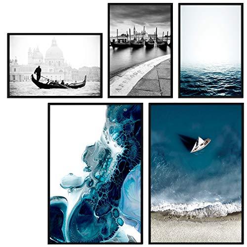 decomonkey   Poster 5er - Set mit schwarzem Rahmen schwarz-weiß Abstrakt Kunstdruck Wandbild Print Bilder Bilderrahmen Kunstposter Wandposter Posterset Strand Meer Stadt Vending Stein Blau -