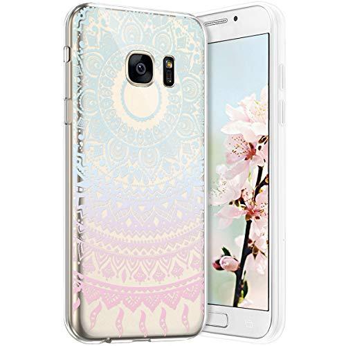 Robinsoni Funda Compatible con Samsung Galaxy S7 Funda Silicona Galaxy S7 Carcasa Transparente TPU Flor de Buda Carcasa Gel Goma Caso Ligera Suave Case Flexible Ultra Suave Caso Claridad Funda