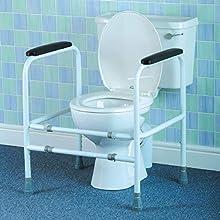 Cadre de toilettes Homecraft ajustable, acier bariatrique, barres d'appui rembourrées pour toilettes, à hauteur réglable, aide aux personnes âgées, handicapées et à mobilité réduite.