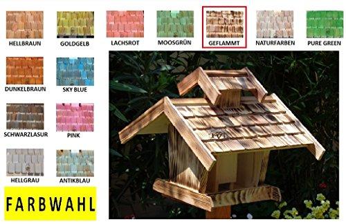Vogelhaus, Futterhaus,groß, K-BEL-VOVIL4-at001 NEU! PREMIUM-Qualität,Vogelhaus,MIT großem SILO, Qualität Schreinerware 100% Massivholz – VOGELFUTTERHAUS MIT FUTTERSCHACHT-Futtersilo Futterstation Farbe schwarz lasiert, anthrazit / Holz natur, Ausführung Naturholz MIT TIEFEM WETTERSCHUTZ-DACH für trockenes Futter - 7