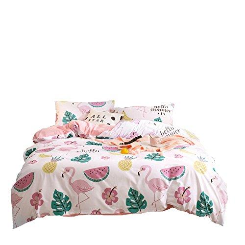 Anjos Slip Floral Style Pastoral Fruits Baumwolle Bettwäsche Set 3/4Bettbezug Bettlaken Kissenbezüge King(86