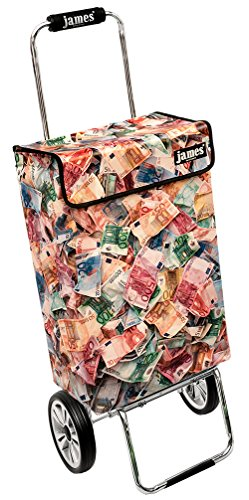 James Einkaufstrolley Design MONEY deluxe, moderner Einkaufswagen, bunter Lifestyle Shopper, Trolly, Rollkoffer, 40kg Tragkraft, klappbar, made in EU!