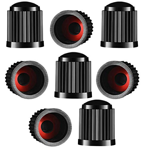 Reifenventilkappen, Kunststoff, Staubschutzkappen für PKW-Reifen, mit Dichtungsring für SUV, Motorrad, LKW, Fahrrad, Schwarz, 8 Stück