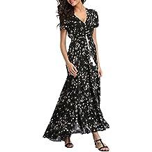 VOGMATE Femme Robe Chic Longue Col V à Fleur Manches Courtes en Coton Robe  Maxi de 7e17a2d332f
