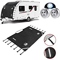 Caravan Towing Cover with LED Warning Lights, 210D Oxford Cloth Universal RV Windshield Cover for Ice and Snow, 220 * 175cm (Black)