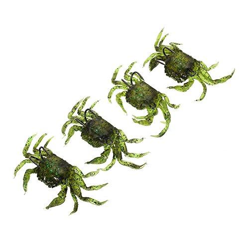 Lixada 4pcs Cangrejo de Pesca Suave Señuelos Cebo Artificial con Anzuelos Simulación Agua Salada Señuelo