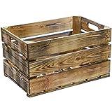 Estable flambierte/geflammte/vino Cajas de fruta manzana Cajas de caja, de madera multiusos + + + natural 54x 35x 30cm