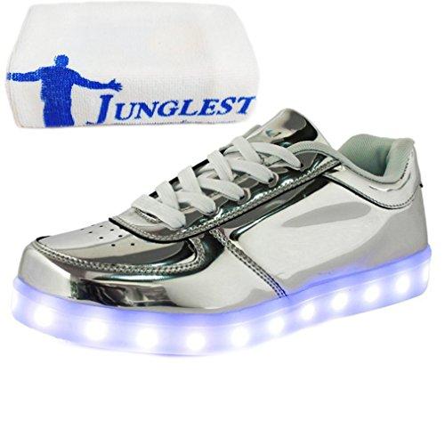 [Présents:petite serviette]JUNGLEST - 7 Couleur Mode Unisexe Homme Femme USB Charge LED Lumière Lumineux Clignotants Chaussures de marche Chaussures de Sports Argent