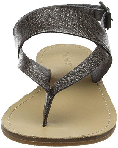 Timberland Carolista Ankle Thonggunmetal Metallic, Sandali con Zeppa Donna Verde (Gunmetal Metallic)