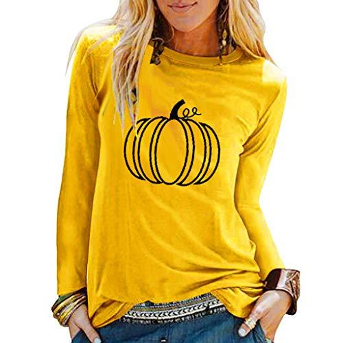 GOKOMO Halloween Costume Pullover Damen schwarz dünn lang Tops Für Damen Halloween Print Shirts O-Ausschnitt Langarm Top Lose T-Shirt Bluse(Gelb-C,Medium)