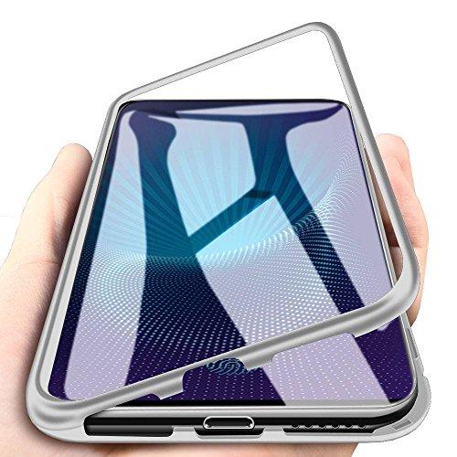WindCase VIVO Nex S Hülle, Hybrid Metall Aluminium Bumper mit Magnetplatte +Transparent Gehärtetes Glas Rückschale 360 Grad Schutzhülle für VIVO Nex S Silber [mit Panzerglas Schutzfolie]