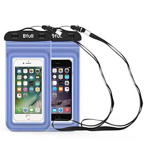 Touch Fällen 5 Ipod Wasserdicht ([2 Packs] Bfull Wasserdichte Schutzhülle, Wasserdichte Tasche, Wasserdichte Hülle Beutel Tasche, Handyhülle, Staubdichte Schützhülle für Outdoor-Aktivitäten für Geräte bis zu 6.0 '' (blau))
