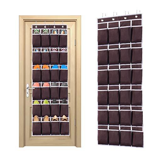 Ecbrt - Organizador de zapatos para colgar sobre la puerta, 24 bolsillos, con 4 ganchos de metal