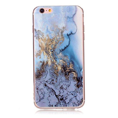 iPhone 6 Plus Coque (Marbre), iPhone 6s Plus Coque Transparente Silicone en Gel Tpu Souple, Housse Etui Coque de Protection avec Absorption de Choc et Anti-Scratch OUJD -Multicolore+marron+vert rosé Or bleu, rouge, eau de mer bleue