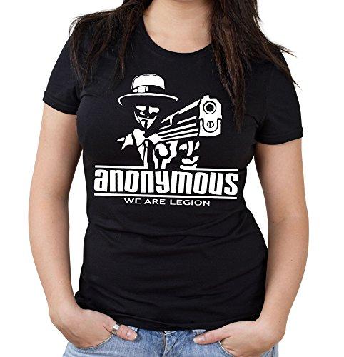 s Frauen & Damen T-Shirt   Maske Vendetta Revolution Guy Fawkes Hacker   M2 (L, Schwarz) ()