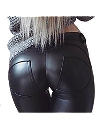 aceshin Leggins Cuero de Imitación Pantalones Lápiz Elásticos de Cintura  Alta para Mujer e774538a78ec