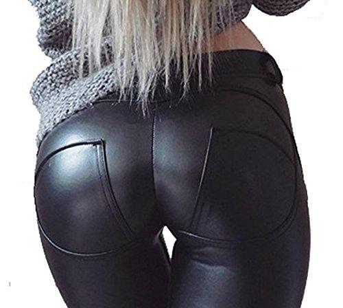 aceshin Leggins Cuero de Imitación Pantalones Lápiz Elásticos de Ci