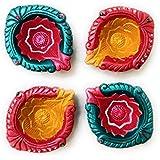 Fressia Diya For Decoration | Diya For Puja | Diya Holder Decorative | Diya Lamps For Pooja | Diwali Gifts And Decoration(Set Of 4, Handmade)