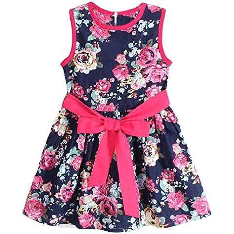 Koly Chicas princesa faldas Fiesta Vestido de flores (2-3Y, Azul)