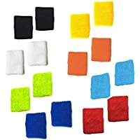 8paia di diversi colori in cotone sudore Sport Basket Wristband