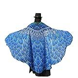 Chiffon Umschlagtücher, ESAILQ Damen Schöner Chiffon Schmetterling / Pfau Flügel schal überwurf Fairy Damen Nymphe Pixie Kostüm Zubehör 197 x 125CM (Blau-1)