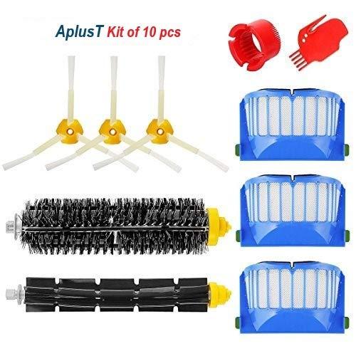 Mtkd kit spazzole ricambio per irobot roomba serie 600 - kit di 10 pezzi accessori (spazzole laterale, filtri, spazzola di spugna e etc..) per robot aspirapolvere.