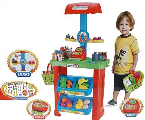 Brigamo 6179 - Hofladen Kinder Kaufladen mit Kasse, Waage, Einkaufskorb mit Obst & Gemüse